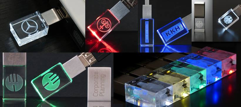 Various glass USB Sticks with different LED colours